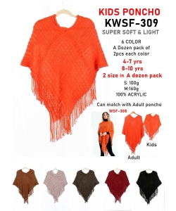 Pack of 12 Kids Stylish  Poncho with Fringe KWSF-309