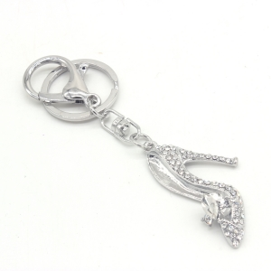 Stylish Shoes Rhinestone Keychain KY300228 SILVER