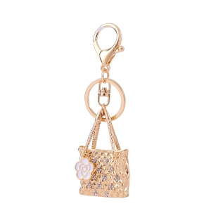 Cute Bag Rhinestone Keychain KY320058 GOLD