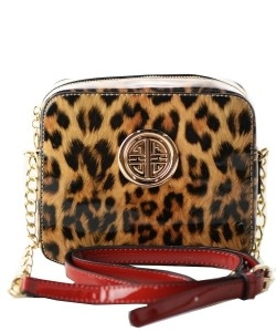 Leopard Glossy Animal Printed Satchel Crossbody Bag L039 BLACK