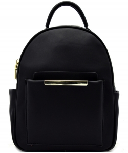Hardware Accent Fashion Backpack L0961 BLACK