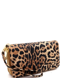 Leopard Double Zip Around Wallet Wristlet LE0012 TAN