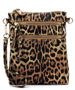 Leopard Multi Zip Pocket Crossbody Bag LE002 Tan