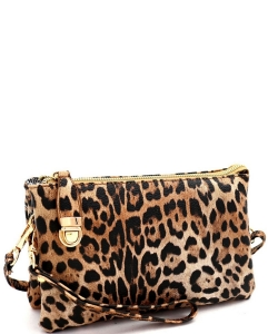 Leopard Print Push-Lock Cross Body LE020B Tan