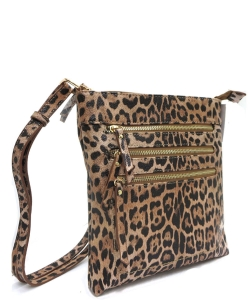Leopard Dual Zip Crossbody Bag  LE093 TAN