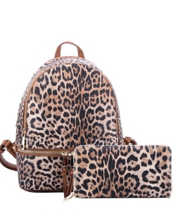 Leopard Print Textured Backpack LE1062W TAN