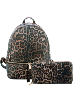 Leopard Zipper Backpack LE1062W BROWN