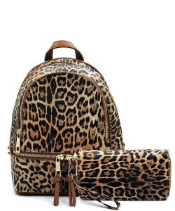 Leopard Print Textured Backpack LE1082W TAN
