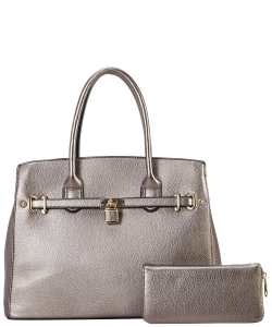 Two in One Tote Handbag Designer with Wallets LI6982 PEWTER