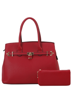 Two in One Tote Handbag Designer with Wallets LI6982 RED