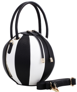 Fashion Ball Multi Color Block  Handbag LM1818  BLACK/WHITE