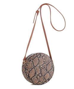 Faux Snakeskin Print Round Crossbody Bag LM19556 brown