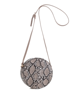 Faux Snakeskin Print Round Crossbody Bag LM19556 taupe