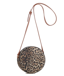 Faux Leopard Print Round Crossbody Bag LM19560 brown