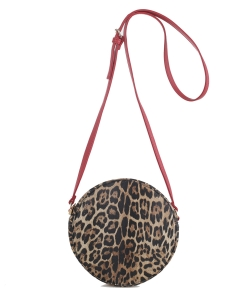 Faux Leopard Print Round Crossbody Bag LM19560 red