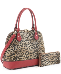 Leopard Print Dome Satchel with Matching Wallet LM19629 RED