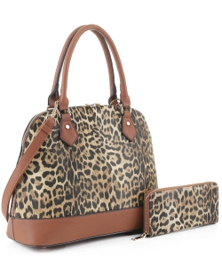 Leopard Print Dome Satchel with Matching Wallet LM19629 TAN