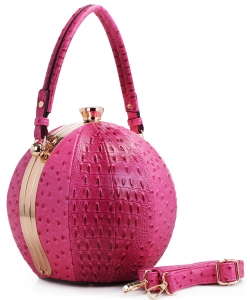 Fashion Faux Leather Ostrich Handbag  LM2038 FUSHIA