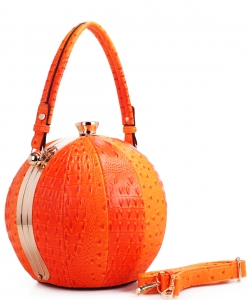 Fashion Faux Leather Ostrich Handbag  LM2038 ORANGE