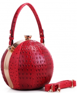 Fashion Faux Leather Ostrich Handbag  LM2038 RED