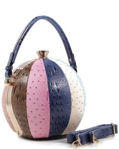 Fashion Faux Leather Ostrich Handbag  LM2038A DBLUE MULTI