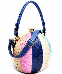 Fashion Faux Leather Ostrich Handbag Ball Shaped