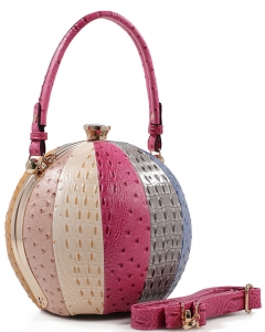 Fashion Faux Leather Ostrich Handbag  LM2038A FUSHIA MULTI