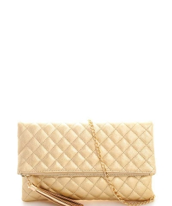 Designer Stitch Foldover Princess Clutch with Chain LP-048 GOLD