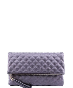 Designer Stitch Foldover Princess Clutch with Chain LP-048 PEWTER