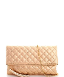 Designer Stitch Foldover Princess Clutch with Chain LP-048 ROSEGOLD