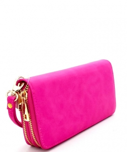 Simple Double Zip-Around Wallet LP0012 FUSHIA
