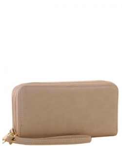 Simple Double Zip-Around Wallet LP0012 NUDE