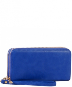 Simple Double Zip-Around Wallet LP0012 ROYAL BLUE
