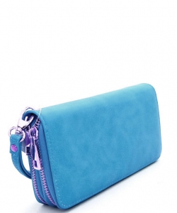Simple Double Zip-Around Wallet LP0012 TEAL