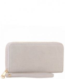 Simple Double Zip-Around Wallet LP0012 WHITE