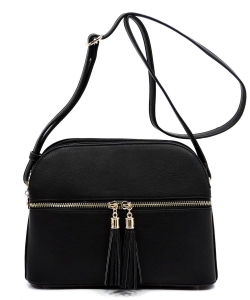 Zip Tassel Multi Compartment Crossbody Bag LP050 BLACK