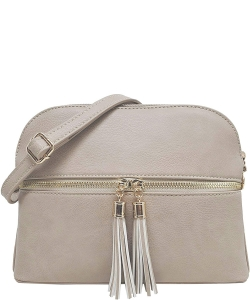 Zip Tassel Multi Compartment Crossbody Bag LP050 BRICK