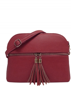Zip Tassel Multi Compartment Crossbody Bag LP050 CRANBERRY