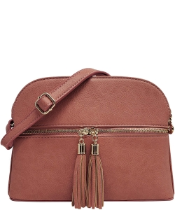 Zip Tassel Multi Compartment Crossbody Bag LP050 DARK PEACH