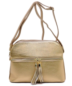 Zip Tassel Multi Compartment Crossbody Bag LP050 GOLD