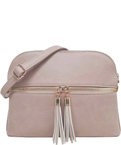 Zip Tassel Multi Compartment Crossbody Bag LP050 NUDE