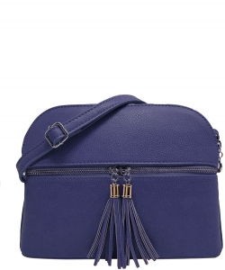 Zip Tassel Multi Compartment Crossbody Bag LP050 NAVY