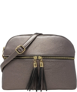 Zip Tassel Multi Compartment Crossbody Bag LP050 PEWTER