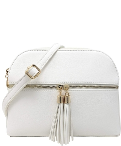 Zip Tassel Multi Compartment Crossbody Bag LP050 WHITE
