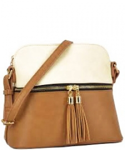 Tassel Zipper Puller Accent Two Tone Cross Body Bag LP051  BG/BRICK