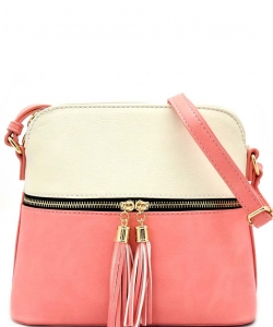 Tassel Zipper Puller Accent Two Tone Cross Body Bag LP051  BG/PK