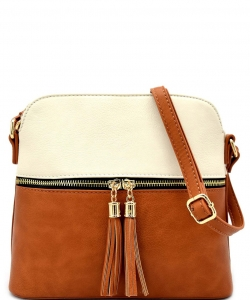 Tassel Zipper Puller Accent Two Tone Cross Body Bag LP051  BG/TAN
