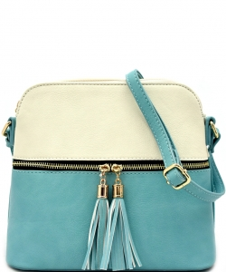 Tassel Zipper Puller Accent Two Tone Cross Body Bag LP051  BG/TQ