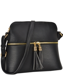 PU Leather Medium Crossbody Shoulder Bag Fashion Purse Large Capacity Tassel LP051 BLACK