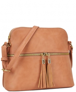PU Leather Medium Crossbody Shoulder Bag Fashion Purse Large Capacity Tassel LP051 NUDE